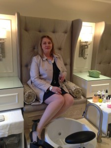 Tracey Drake, Editor in Chief of NICHE magazine trying out the new pedicure thrones